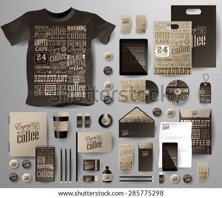 Abstract  business set for coffee shop, cafe . Corporate identity templates in typographic style, notebook, card, flag, T-shirt, disk, package,  label, envelope, pen, Tablet PC - stock vector
