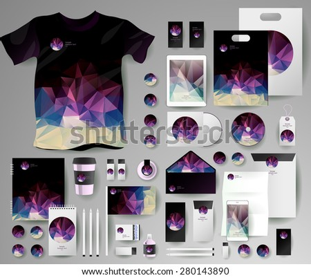 Abstract  business set in polygonal style. Corporate identity templates, notebook, card, flag, T-shirt, disk, package,  label, envelope, pen, Tablet PC, Mobile Phone, matches - stock vector