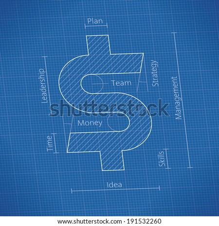 Illustration abstract blueprint cloud computing technology stock abstract business success blueprint with dollar symbol idea success leadership teamwork malvernweather Image collections