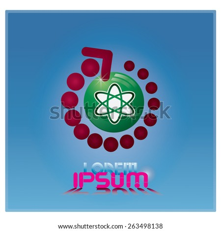 Abstract Business Technology  vector logo design  Atom DNA Chip Logo design vector - stock vector