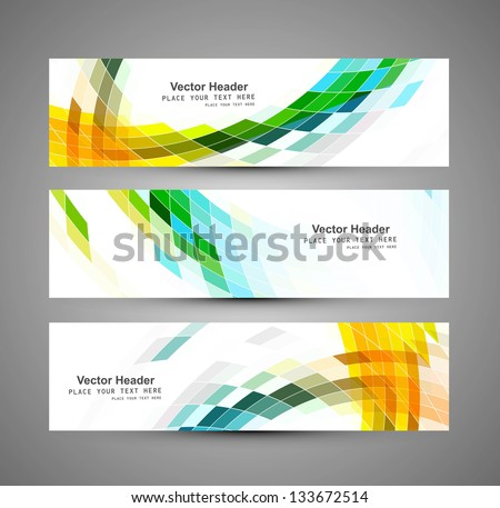 Abstract business three colorful mosaic header design vector - stock vector