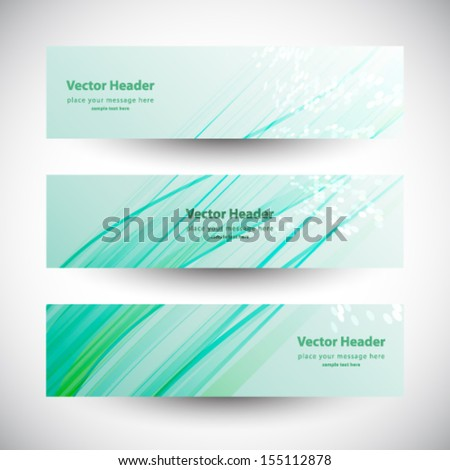 Abstract business three green wave header vector background  - stock vector