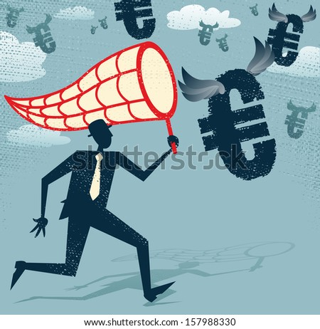 Abstract Businessman chasing and netting Euros. Vector illustration of Retro styled Businessman catching all the money with his giant cash catching net.  - stock vector