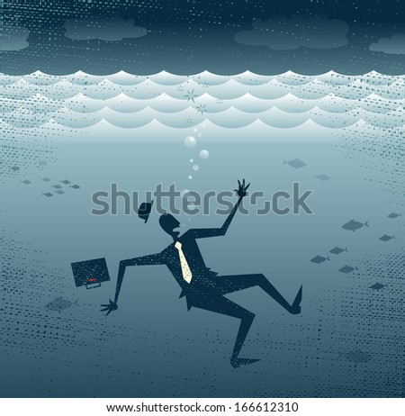 Abstract Businessman Drowning. Great illustration of a Retro styled Businessman Sinking down to the bottom of the Corporate Sea.  - stock vector