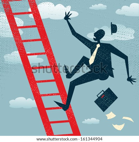 Abstract Businessman falls of the Corporate Ladder. Vector illustration of Retro styled Businessman falls off the corporate ladder all the way to the bottom of his career. - stock vector