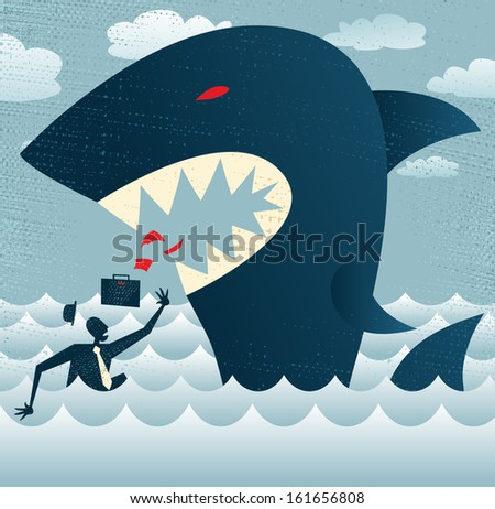 Abstract Businessman falls Prey to a Huge Shark.  Vector illustration of Retro styled Businessman who is in negotiations with a very dangerous customer in the form of a giant metaphorical Shark. - stock vector