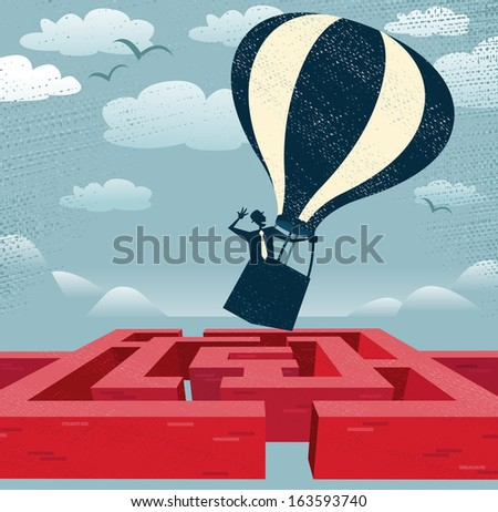 Abstract Businessman finds quick route over Maze. Great illustration of Retro styled Businessman with a very clever idea to use a Hot Air Balloon to find his way through a maze to the other side. - stock vector