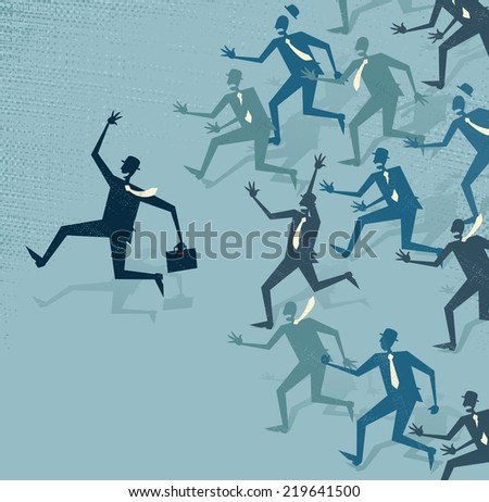 Abstract Businessman gets ahead of the pack. Great illustration of Retro styled Businessman running ahead of his business rivals to get to the business deal first. - stock vector