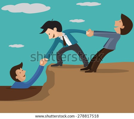 Abstract Businessman gets help from the Team. Vector illustration  Businessman getting a welcome lift up the corporate mountain with the assistance of his team members.  - stock vector