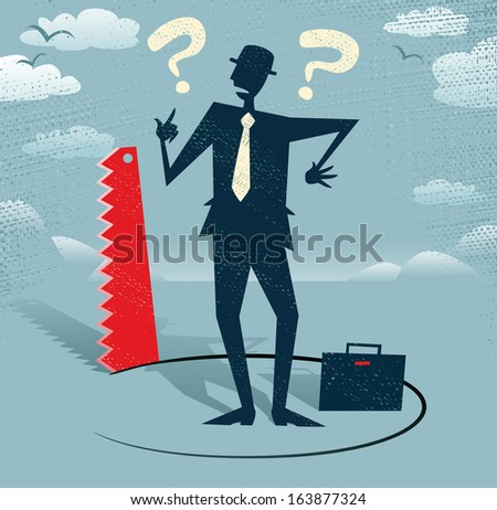 Abstract Businessman has Ground cut beneath him. Retro styled Businessman who looks extremely worried as a rival in business is cutting away the floor beneath him. Outrageous behaviour indeed!. - stock vector