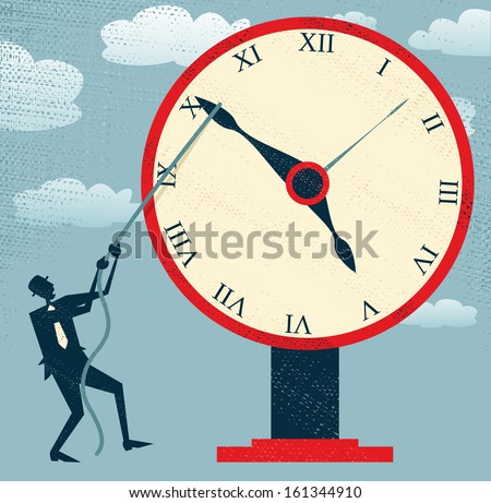 Abstract Businessman holding back Time. Vector illustration of Retro styled Businessman desperately trying to hold back time so he can make an important deadline. - stock vector