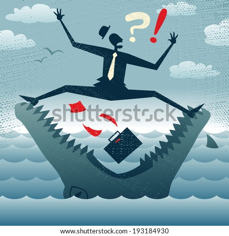 Abstract Businessman in Jaws of Huge Crocodile. Great illustration of Retro styled Businessman desperately trying to stop himself from falling to his death in the jaws of a dangerous crocodile.  - stock vector