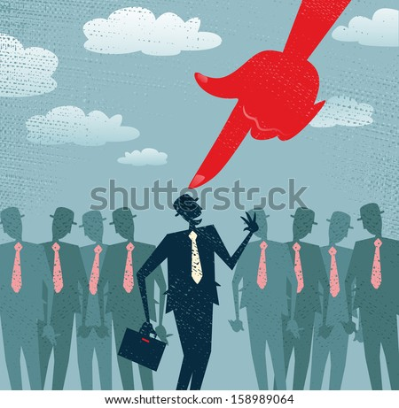 Abstract Businessman is Picked and Selected. Vector illustration of Retro styled Businessman picked out from the crowd by a huge people picking red hand. All recruitment Agencies need one of these! - stock vector