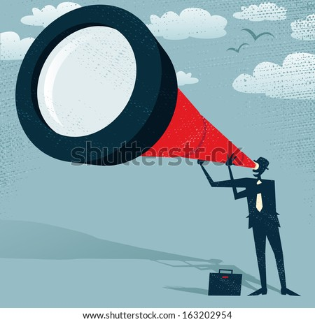 Abstract Businessman looks through his Telescope. Great illustration of Retro styled Businessman who's getting a really great view of the business landscape with his gigantic telescope. - stock vector