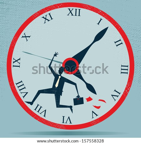 Abstract Businessman Running against the Clock. Vector illustration of Retro styled Businessman running out of time and at top speed against the clock as he is very late for an appointment. - stock vector