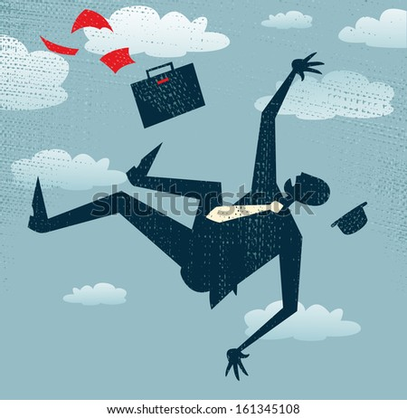 Abstract Businessman's career is in Free fall. Vector illustration of Retro styled Businessman is in Free fall as his career takes a fall.  - stock vector