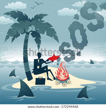 Abstract Businessman sends Smoke Signals on an Island. Great illustration of Businessman trying to make contact with potential rescuers as he has found himself stranded on a remote island!.  - stock vector