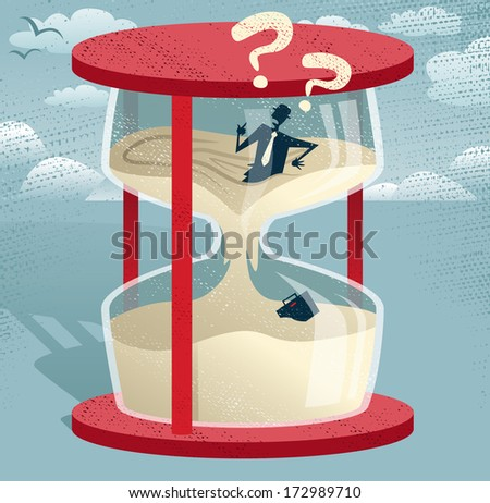 Abstract Businessman Trapped in Egg timer.  Great illustration of Retro styled Businessman desperately trying to hold back time as the sands of time get the better of him.  - stock vector