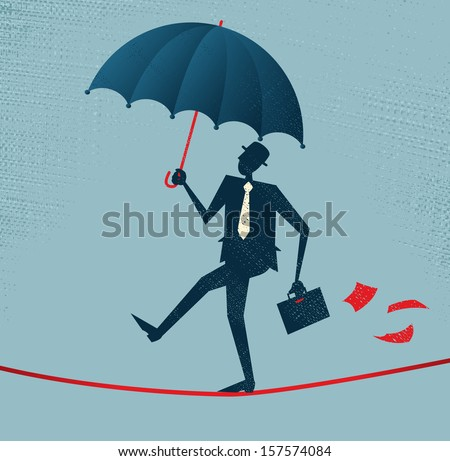 Abstract Businessman walks a precarious tightrope. Vector illustration of Retro styled Businessman walking carefully across a very high tightrope with his umbrella for added protection.  - stock vector