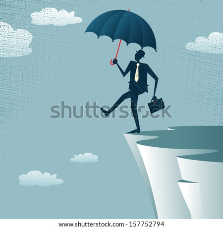 Abstract Businessman walks off a cliff. Vector illustration of Retro styled Businessman walking off the cliffs or maybe its a leap of faith. - stock vector