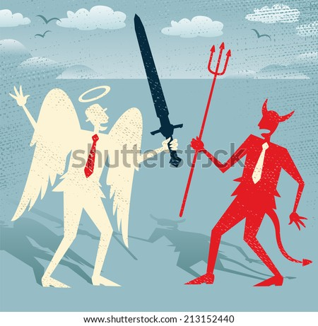 Abstract Businessmen Good fights against Evil. Great illustration of Retro styled Abstract Businessmen as both a devil and an angel fighting the battle of Good and Evil. - stock vector