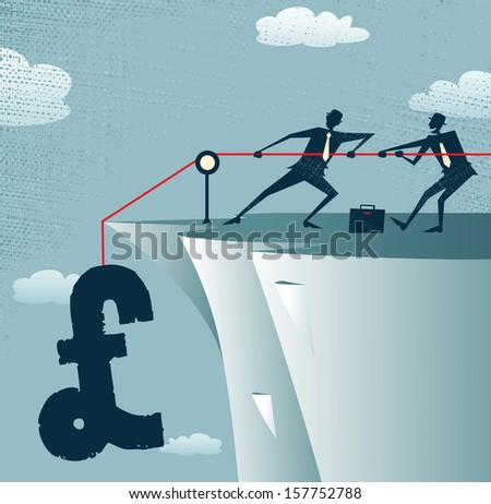 Abstract Businessmen work together to save the money. Vector illustration of Retro styled Businessman standing on the cliffs saving the money by pulling up the Pound. - stock vector