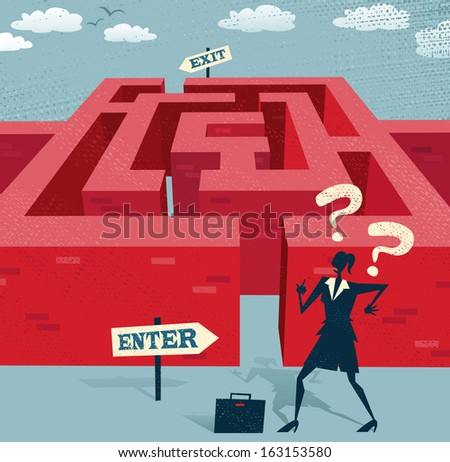 Abstract Businesswoman embarks on a difficult Maze journey. Great illustration of Retro styled Businesswoman with a very difficult task ahead of her to find her way through a maze to the other side.  - stock vector