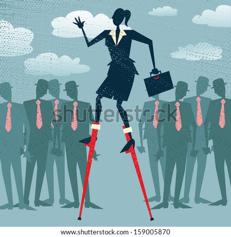 Abstract Businesswoman has an advantage. Vector illustration of Retro styled Businesswoman who has got an advantage over her rivals by using lateral thinking to give her an edge. - stock vector