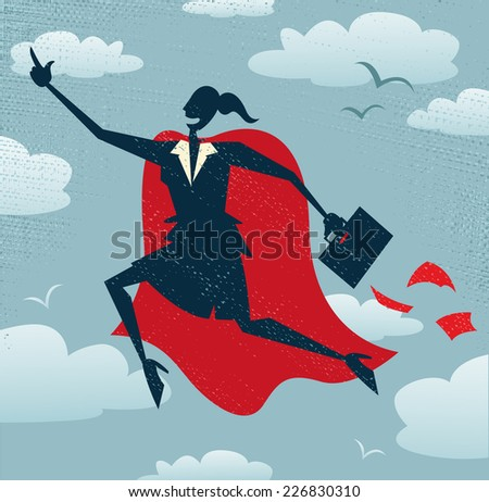 Abstract Businesswoman is a Superhero. Abstract Businesswoman flies off to rescue another business deal that is need of her super powers.  - stock vector