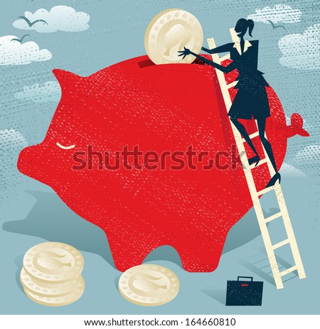 Abstract Businesswoman saves money in Piggy bank.  Great illustration of Retro styled Businessman climbing to the top of a giant piggy bank to save her hard earned money. - stock vector