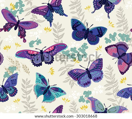 Abstract butterfly wallpaper seamless vintage flower pattern