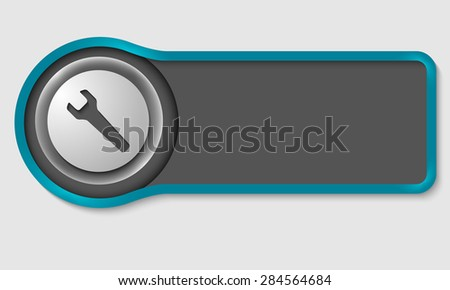 Abstract button for your white text and spanner - stock vector