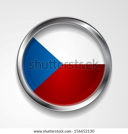 Abstract button with stylish metallic frame. Czech flag. Eps 10 vector background - stock vector