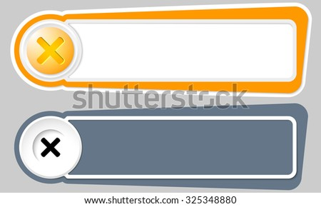 Abstract buttons for your text and multiplication symbol - stock vector