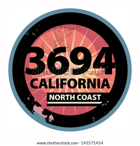 Abstract California sign or label, vector illustration - stock vector