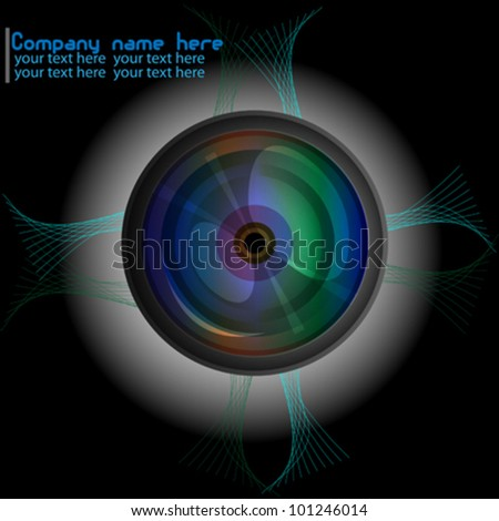 Abstract camera lens on black background with space for text - stock vector