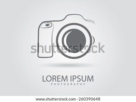 Abstract camera logo.Camera icon design silhouette in vector format  - stock vector