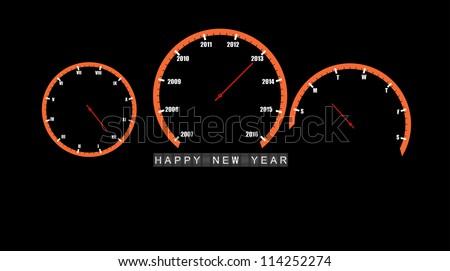 abstract car clocks Happy new year 2013 - stock vector