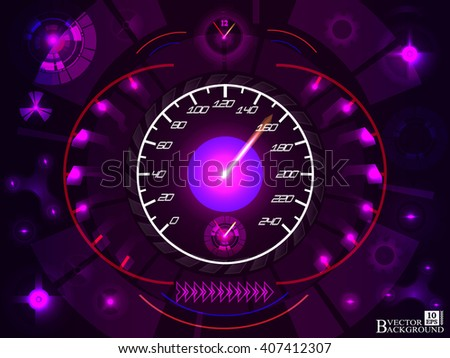Abstract car speedomete on purple color background. Vector illustration.