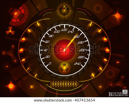 Abstract car speedomete on red color background. Vector illustration.