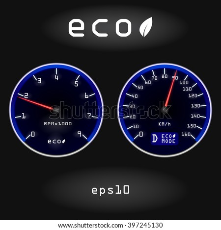 Abstract car speedometer and tachometer on black background. Concept of fuel economy