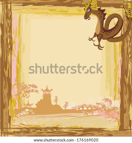 Abstract card with a Chinese dragon  - stock vector