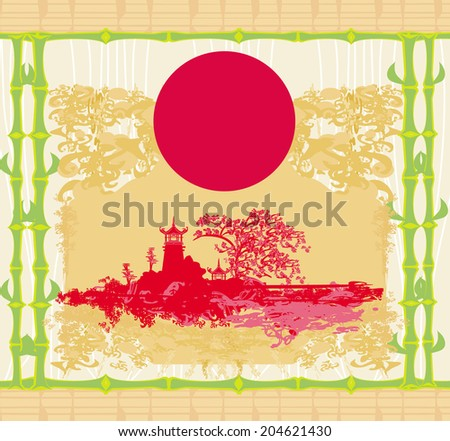 Abstract card with Asian buildings, vintege frame  - stock vector