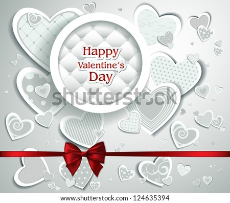 Abstract card with hearts and place for text - stock vector