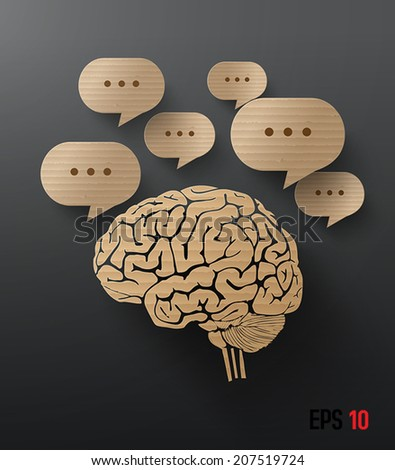 Abstract cardboard graphics of brain and bubble speech. - stock vector