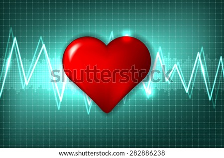 Abstract cardiogram and heart - vector illustration