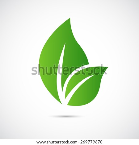 Abstract  care vector logo  Eco icon, with green leaf - stock vector