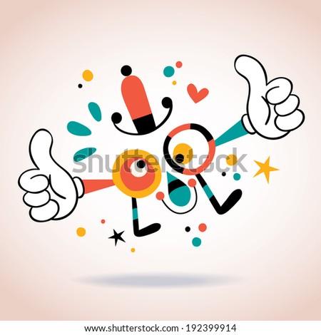 Abstract cartoon character mascot thumbs up - stock vector