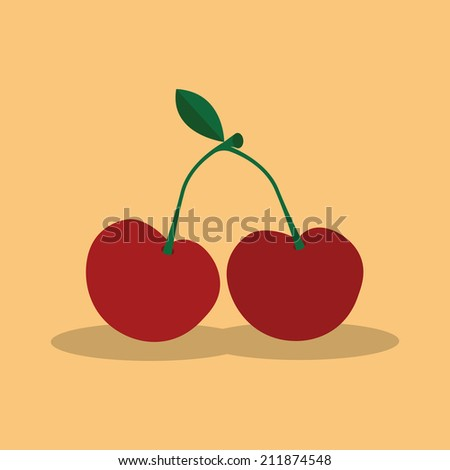 abstract cartoon cherry on a light color background