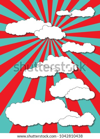 abstract cartoon clouds with halftone shadows on pop art background with radial lines